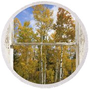 Colorado Autumn Aspens Picture Window View Round Beach Towel