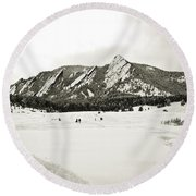 Colorado Boulder Flatirons  Round Beach Towel