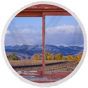 Colorado Country Red Rustic Picture Window Frame Photo Art Round Beach Towel