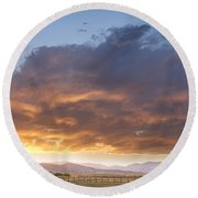 Colorado Evening Light Round Beach Towel