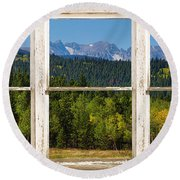 Colorado Indian Peaks Autumn Rustic Window View Round Beach Towel by James BO  Insogna
