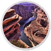 Colorado River At Horseshoe Bend Round Beach Towel