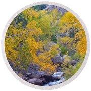 Colorado Rocky Mountain Autumn Canyon View Round Beach Towel
