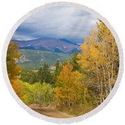 Colorado Rocky Mountain Autumn Scenic Drive Round Beach Towel