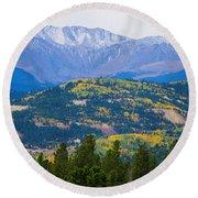 Colorado Rocky Mountain Autumn View Round Beach Towel
