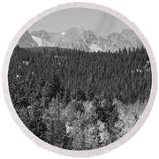 Colorado Rocky Mountain Continental Divide View Bw Round Beach Towel