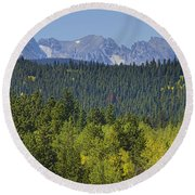 Colorado Rocky Mountain Continental Divide Autumn View Round Beach Towel