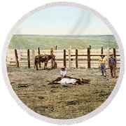 Colorado: Roping A Steer Round Beach Towel