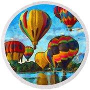 Colorado Springs Hot Air Balloons Round Beach Towel by Nikki Marie Smith