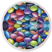 Colored Beans Design Round Beach Towel