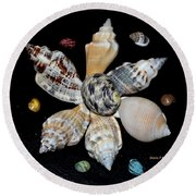 Colored Seashells Round Beach Towel