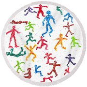 Colorful Acrylic Stickmen Characters Round Beach Towel