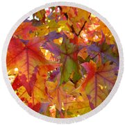 Colorful Autumn Leaves Art Prints Trees Round Beach Towel