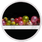 Colorful Balls In The Shop Window Round Beach Towel by Ausra Huntington nee Paulauskaite