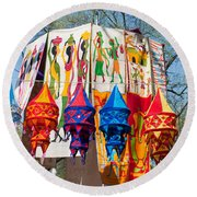 Colorful Banners At Surajkund Mela Round Beach Towel