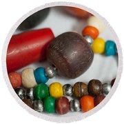 Colorful Beads In Chains Round Beach Towel
