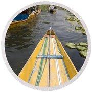 Colorful Boats On Dal Lake Dal Lake Round Beach Towel