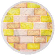 Colorful Brick Wall Round Beach Towel