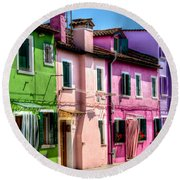 Colorful Burano Italy Round Beach Towel