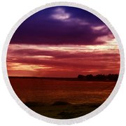 Colorful Clouds Over Ocean At Sunset Round Beach Towel