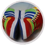 Colorful Clown Shoes Round Beach Towel