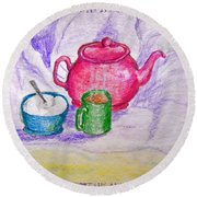 Colorful Coffee Round Beach Towel