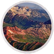 Colorful Colorado Rocky Mountains Planet Art Round Beach Towel