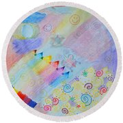 Colorful Doodling Original Art Round Beach Towel