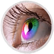 Colorful Eye Round Beach Towel