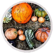 Colorful Fall Harvest Round Beach Towel