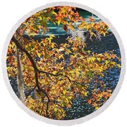 Colorful Fall Leaves Over Blue Water Round Beach Towel