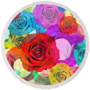 Colorful Floral Design  Round Beach Towel