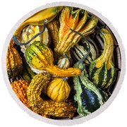 Colorful Gourds In Basket Round Beach Towel