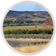 Colorful Hills Of Wyoming Round Beach Towel