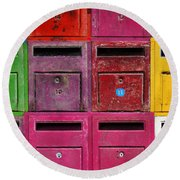 Colorful Mailboxes Round Beach Towel