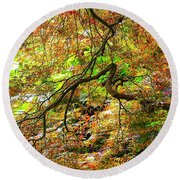 Colorful Maple Leaves Round Beach Towel