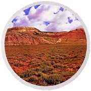 Colorful Mesas At Fossil Butte Nm Butte Round Beach Towel