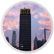 Colorful Morning Sky In Philly Round Beach Towel