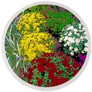 Colorful Mums Photo Art Round Beach Towel