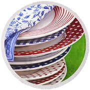 Colorful Plates Round Beach Towel