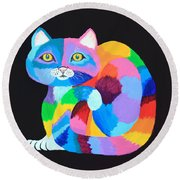 Colorful Rainbow Cat Round Beach Towel