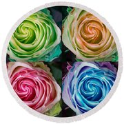 Colorful Rose Spirals Round Beach Towel