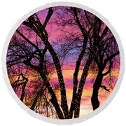 Colorful Silhouetted Trees 33 Round Beach Towel
