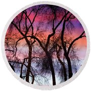 Colorful Silhouetted Trees 9 Round Beach Towel