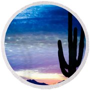 Colorful Southwest Desert Sunrise Round Beach Towel