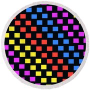 Colorful Squares Round Beach Towel by Louisa Knight