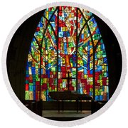 Colorful Stained Glass Chapel Window Round Beach Towel