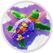 Colorful Turtle Round Beach Towel