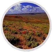Colorful Valley From Fossil Lake Trailsil Bu Round Beach Towel