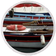 Colorful Wooden Boats Round Beach Towel